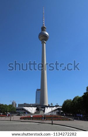 GERMANY, BERLIN - JUNE 08, 2018: View at the Television tower in Berlin