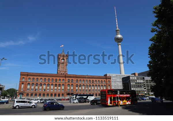 GERMANY, BERLIN - JUNE 08, 2018: Rotes Rathaus and Fernsehturm Berlin