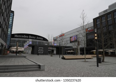 GERMANY, BERLIN, MARCH 03, 2019: Mercedes Platz with Mercedes-Benz Arena and Verti Music Hall