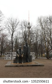 GERMANY, BERLIN, MARCH 03, 2019: The statues of Karl Marx and Friedrich Engels in Berlin