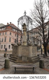 GERMANY, BERLIN, MARCH 03, 2019: Wappenbrunnen in Nikolai Quarter in Berlin