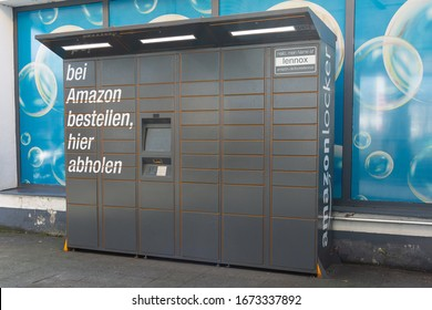 Germany, Berlin March 15th, 2020: Amazon Packstation where customers can pick up their order themselves