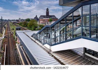 Germany, Berlin, Mitte, Moabit: Panorama view of Westhafen BEHALA area in the German capital with famous old administration building, sklyline, blue sky - concept global trade business. May 01, 2019