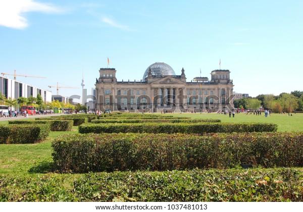 GERMANY, BERLIN, PLATZ DER REPUBLIK - AUGUST 17, 2013: Reichstag building in Berlin