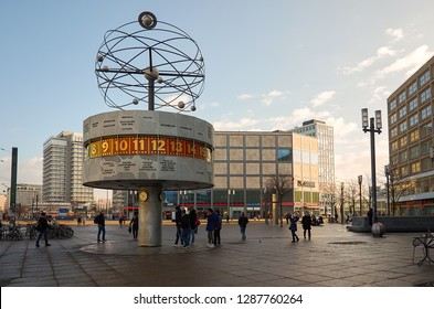 Germany. Berlin. Berlin world clock on Alexanderplatz square. February 16, 2018