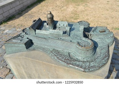 GERMANY, BIELEFELD-AUGUST 10, 2018: Miniature layout.Residence of the count and ancient castle of Sparrenburg