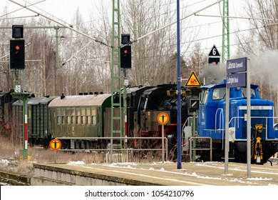 Germany , Brandenburg , Lübbenau , 17.03.2018 , A special train with old and new railway vehicles from the times of the Reichsbahn and Deutsche Bahn at Lübbenau station