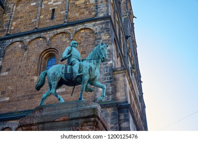 Germany. Bremen. Sculpture Bismarck on horseback near the Cathedral of St. Peter in Bremen. February 14, 2018