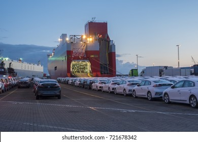 GERMANY, BREMERHAVEN, 2017-09-13. Cars  waiting for being loaded onto a Ro Ro vessel in Bremerhaven, one of the biggest terminals for shipping cars in Europe,
