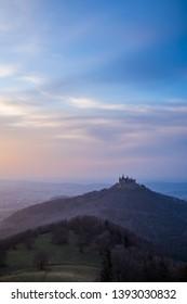 Germany, Castle hohenzollern in swabian jura in magical twilight atmosphere in springtime