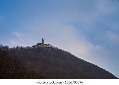 Germany, Castle teck in swabian alb nature landscape enchanted on top of a mountain