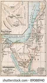 "GERMANY - CIRCA 1895: Map of Sinai Peninsula. The route of exodus of Jews from Egypt. Atlas B. Schwarze, Leipzig, Printing House ""Privilegierte Wurttembergische Bibelanstalt"", Germany, 1895"