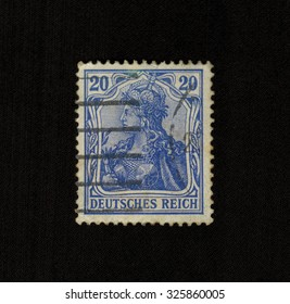"GERMANY - CIRCA 1899: Postage stamp ""Germany"" represents the image of the legendary warrior women of the Valkyries, crowned with the Imperial crown, in metallic corset"