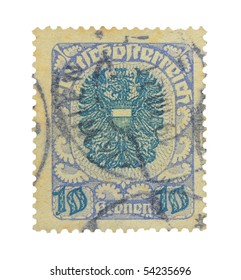 GERMANY - CIRCA 1910s: A ten crowns stamp printed in Germany showing national sign, circa 1910s