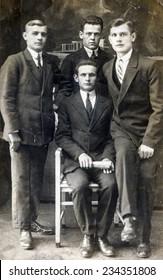 GERMANY, CIRCA 1930s: Vintage photo of four men