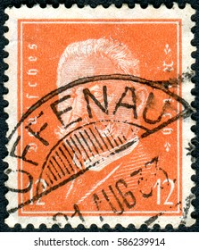 GERMANY - CIRCA 1932: A stamp printed in Germany (Deutsches Reich), shows a portrait of the President of the German Reich Paul von Hindenburg, circa 1932
