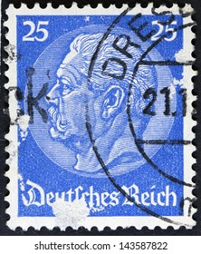 """GERMANY - CIRCA 1933: A stamp printed in Germany shows portrait of Paul von Hindenburg (2nd President of German Reich), without inscription, from series """"85th birthday of von Hindenburg"""", circa 1933"""