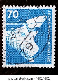 GERMANY - CIRCA 1935: A stamp (Scott 2008 1177) shows image of a ship, series, circa 1935