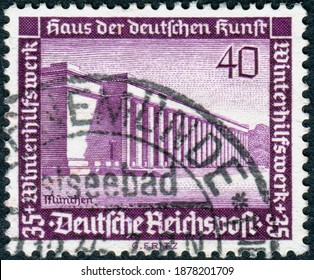 GERMANY - CIRCA 1936: Postage stamp printed in Germany, issue Winter relief, shown the Haus der Kunst (House of Art), Munich, circa 1936