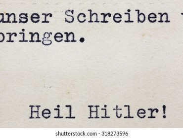 """GERMANY, CIRCA 1940's: closeup shot of real envelope from World War II with words of 'Heil Hitler"""" at the bottom, Germany, circa 1940""""s"""