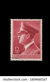 GERMANY, CIRCA 1942 - Post stamp in memory of the Adolf Hitler birthday circa 1942 in Berlin, Germany