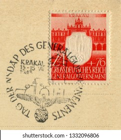 GERMANY - CIRCA 1943: German historical stamp: Anniversary of 3 years since the founding of the NSDRP Governor-General, occupied Poland, special cancellation, the Third Reich, ww2