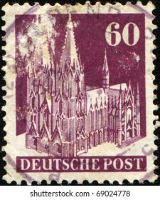 GERMANY - CIRCA 1948: A stamp printed in Germany shows Cologne Cathedral, circa 1948