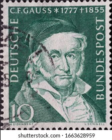 GERMANY - CIRCA 1955: a postage stamp printed in Germany showing an image of Carl Friedrich Gauß, circa 1955.