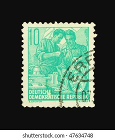 GERMANY - CIRCA 1955: A stamp printed in Germany showing workers circa 1955