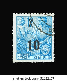 GERMANY - CIRCA 1956: A stamp printed in Germany showing farmers, circa 1956