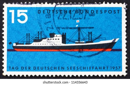 GERMANY - CIRCA 1957: a stamp printed in the Germany shows Modern Passenger Freighter, Merchant Marine Day, circa 1957