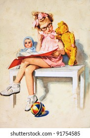 GERMANY - CIRCA 1958: Postcard printed in GDR shows Girl sitting on a bench with a doll and teddy bear, circa 1958
