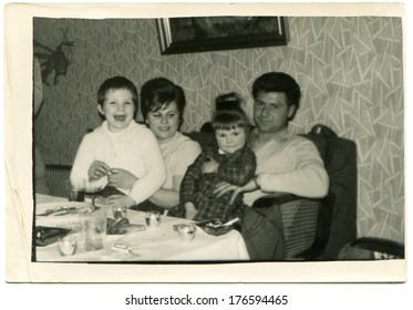 GERMANY - CIRCA 1960s: An antique photo of happy family