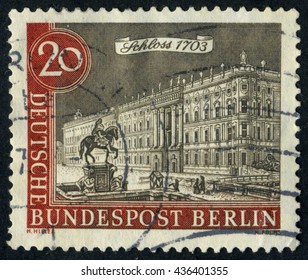 GERMANY - CIRCA 1962: A stamp printed by Germany, shows city, vintage Europe, Berlin city, circa 1962