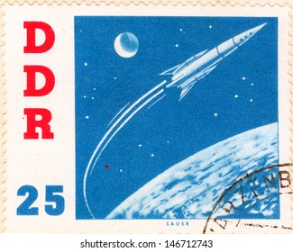 GERMANY - CIRCA 1963: An old German Democratic Republic postage stamp issued in honor of the Soviet spacecraft Vostok and second human to orbit the Earth, cosmonaut Gherman Titov; series, circa 1963