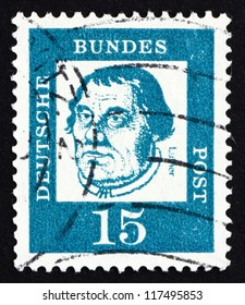 GERMANY - CIRCA 1963: a stamp printed in the Germany shows Martin Luther, German Priest, who initiated the Protestant reformation, circa 1963