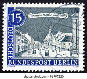 GERMANY - CIRCA 1963: a stamp printed in the Germany, Berlin shows Mauer Street, 1780, View of Old Berlin, circa 1963