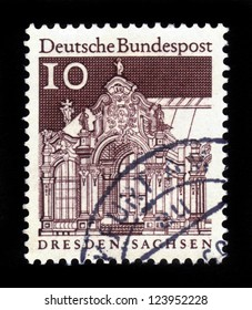 GERMANY - CIRCA 1966: A stamp printed in Germany, shows Pavilion  Zwinger, Dresden, circa 1966
