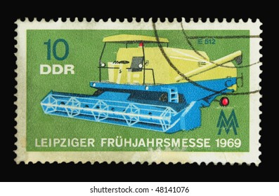 GERMANY - CIRCA 1969: A stamp printed in Germany showing harvester circa 1969