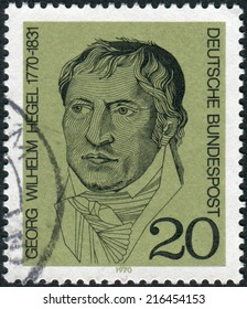 GERMANY - CIRCA 1970: Postage stamp printed in Germany, shows a German philosopher, and a major figure in German Idealism, Georg Wilhelm Friedrich Hegel, circa 1970