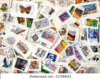 GERMANY - circa 1970-2005: Horizontal background of German commemorative and definitive postage stamps on paper