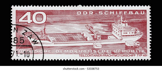GERMANY - CIRCA 1971: A post stamp printed in Germany and shows container vessel, series. Circa 1971.