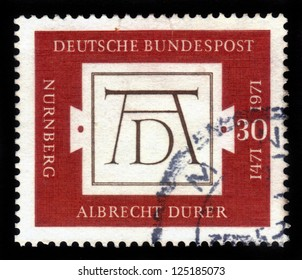 GERMANY - CIRCA 1971: stamp printed in the Germany shows Durer's Signature, 500th anniversary of the birth of Albrecht Durer, is the most famous artist of Reformation Germany, circa 1971