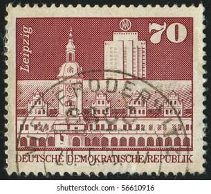 GERMANY - CIRCA 1973: stamp printed by Germany, shows old town hall, office building, Leipzig, circa 1973.