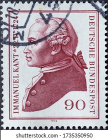 GERMANY - CIRCA 1974: a postage stamp printed in Germany showing a portrait of the Enlightenment philosopher Immanuel Kant