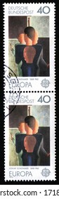 "GERMANY - CIRCA 1975: A stamp printed in Germany from the ""Europa. Paintings by Oskar Schlemmer""  circa 1975. Bauhaus School"