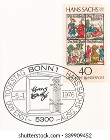 GERMANY - CIRCA 1976: A  first day of issue postmark printed in Germany, shows Books by Hans Sachs (1494-1576), poet (meister-singer), 400th death anniversary, circa 1976