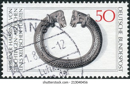 GERMANY - CIRCA 1976: Postage stamp printed in Germany, shows the Archaeological Treasures: Celtic silver torque, 2nd-1st centuries BC, circa 1976
