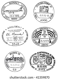GERMANY - CIRCA 1976/1977 six special commemoratial postmarks from germany