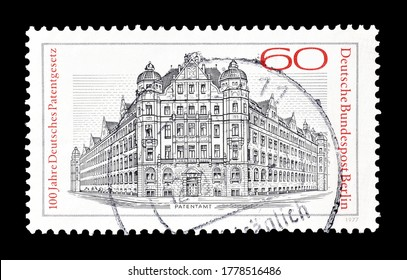 GERMANY - CIRCA 1977 : Cancelled postage stamp printed by Germany, Berlin, that shows former Imperial Patent Office in Berlin, circa 1977.